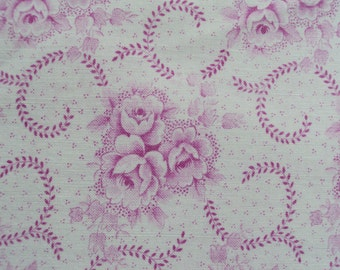 Vintage French Faded  Fabric Baby Pink Roses Rosebuds Bell Flowers Suitable for Patchwork Quilting Lavender Bags Feedsack Pillow