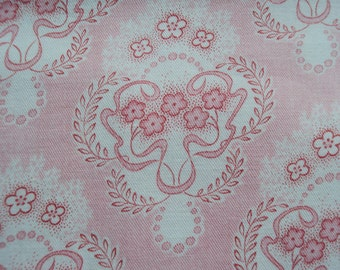 Vintage French Fabric Pink Flowers Flowing Ribbons Suitable for Patchwork Quilting Lavender Bags Feedsack Pillow Dolls Clothes