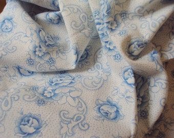 Vintage French Cotton Fabric Faded Blue Roses and Small Blue Flowers Suitable for Patchwork Quilting Lavender Bags Feedsack Pillow