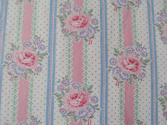 Last Piece Vintage Fabric Pink Roses Rosebuds Blue Flowers Stripes Dots Quilting Patchwork Lavender bags Pillow Feedsack
