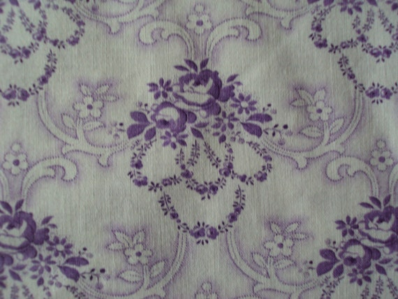 Beautiful Vintage French Fabric Lilac Lavender Roses and Rosebuds Never Used Perfect for Patchwork Quilting Lavender Bags Feedsack