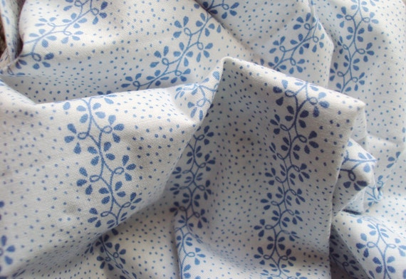 Yardage Vintage French Fabric Blue Flowers Spots Stripes Unused Suitable for Patchwork Quilting, Lavender Bags Feedsack