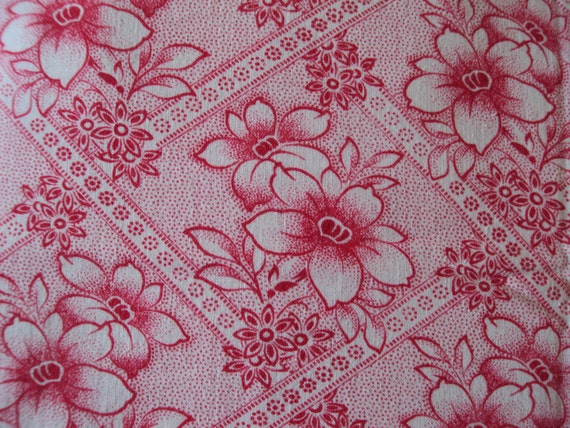 Vintage Fabric Red and White Clematis Red Flowers work Quilting Lavender Bags Dolls Clothes Feedsack