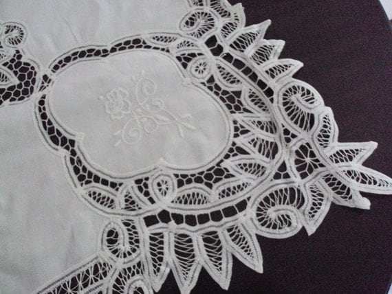 Now Reduced Fabulous Vintage French White Tablecloth Ribbon Lace Embroidered Roses with 12 Napkins Banquet Fine Dining Unused from Paris