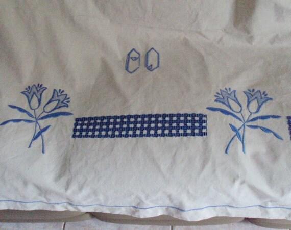 Now Reduced Vintage French Cream Linen Sheet Monogram CD Blue Embroiderd Tulips Cutwork Jours Ladderwork