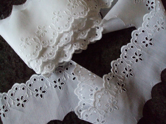 Over 3 Yards Vintage French White Broderie Anglaise Lace Never Been Used Suitable for all Manner of Projects