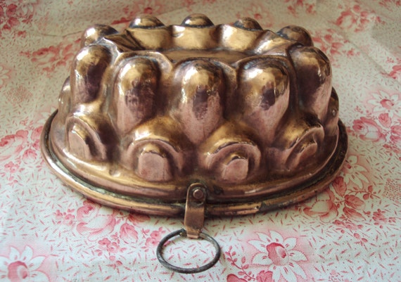Vintage French Oval Copper Cake Tin Mold Mould Jelly Jello Gateau Tin Lined Decorative