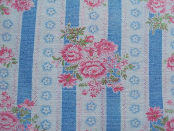 Vintage French Fabric Pink Flowers Blue And White Striped Suitable for Patchwork Quilting Lavender Bags Feedsack Pillow