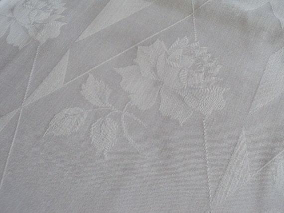 Pair of Vintage European White Damask Pillowcases Pillowshams Tea Roses