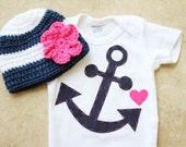 Girly Nautical Gift Set - Anchor Onesie & Matching Hat with Flower - Made to Order