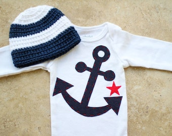 Nautical Gift Set - Anchor Onesie with Star & Matching Hat - Made to Order