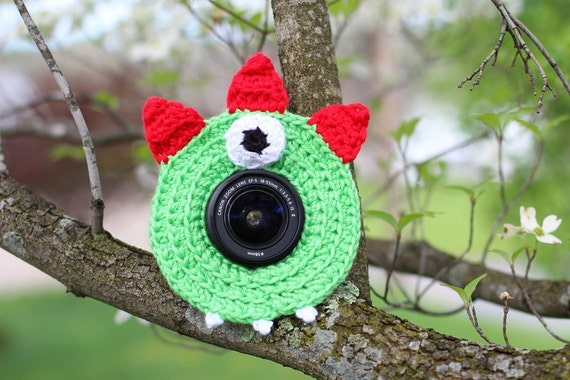 Monster Lens Buddy with Squeaker - Made To Order - Customizable Colors - Photography DSLR Lens Accessory