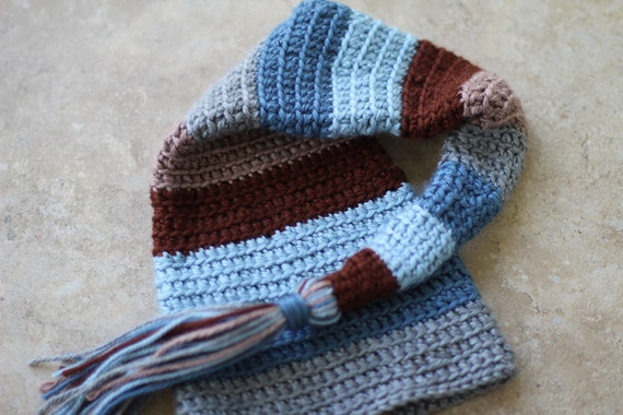 Stocking Hat Photography Prop - Browns, Blues, & Gray - Ready to Ship