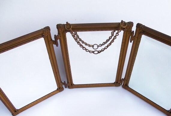 AntiqueTrifold Mirror Victorian Edwardian Beveled Glass Vanity Shaving