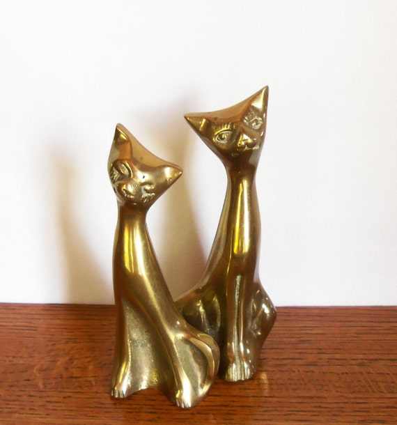 Brass Home Decor: Brass Siamese Cats Home Decor Whimsical By Misstiques On Etsy
