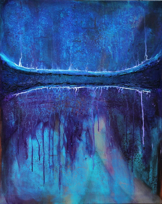 Karma Blue -  30 x 24 , LARGE Original Modern Art, abstract painting
