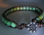Turquoise beads, rosette button, brown leather