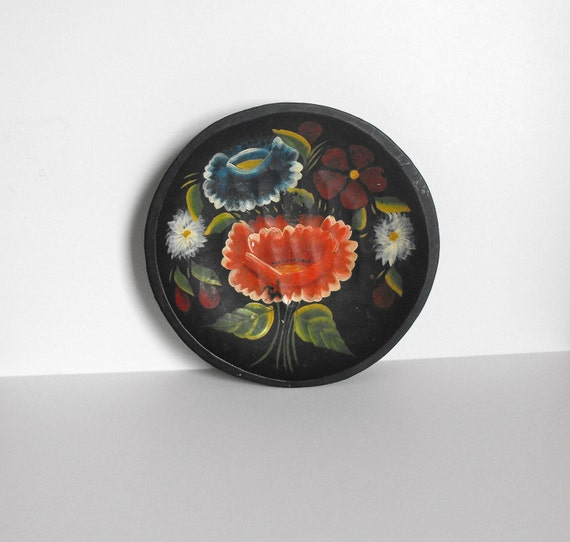 Hand Carved Wood Bowl with Folk Painting of Flowers
