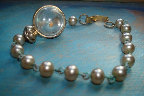 Mustard Seed Charm in Glass Globe Gold Plate and Faux Pearl Bracelet