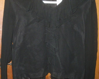 Sale Vintage Black Ruffled Blouse by Collegiana