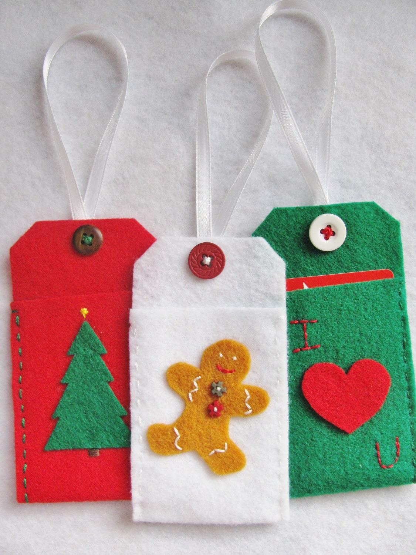 Felt Christmas Gift Card Holder Ornament Tags Set of Three