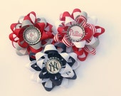 ANY Sports team Flower Layered loopy Hair bow
