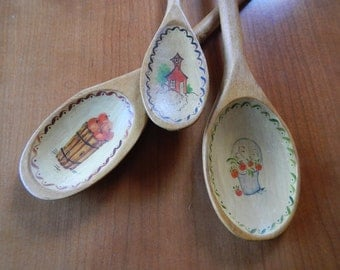 3 Vintage Hand Painted Belgium and Denmark Wooden Spoons