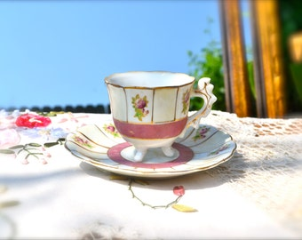 Vintage Japanese Rose Hand-Painted Tea Cup and Saucer