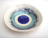 Ceramic Pottery Bowl Dish: Handmade stoneware pottery small dish in Indigo blue and turquoise