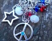 Red, White and Blue Charm Bracelet