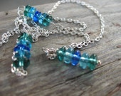 Silver and Blue, Glass Beaded Necklace