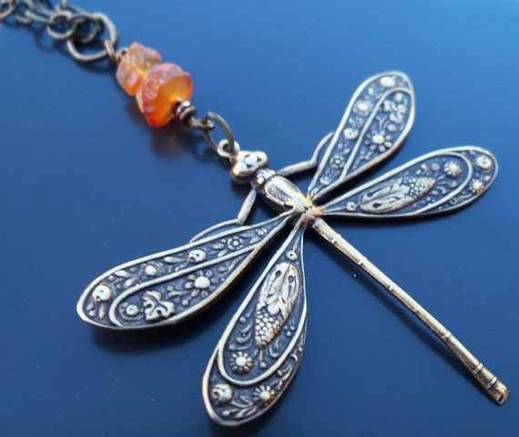 Antiqued Brass Dragonfly Necklace with Carnelian Gemstones