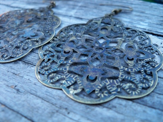 Boho Filigree Earrings, Antiqued Bronze