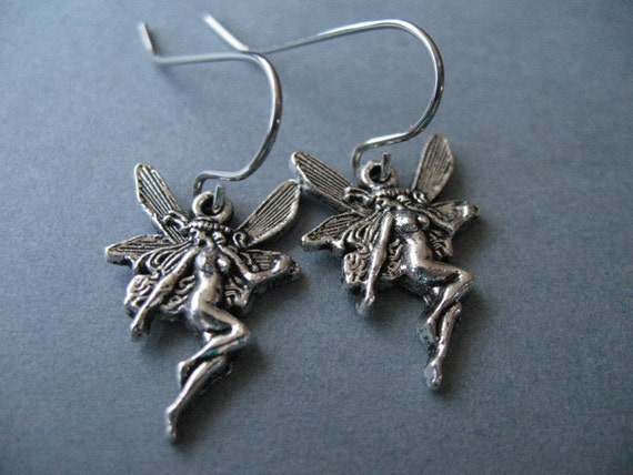 Antiqued Silver Fairy Earrings, Hypoallergenic, Surgical Stainless Steel