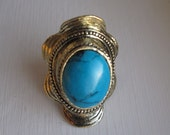 s a l e - Vintage Ring Turquoise Stone  Silver Tone Chunky Adjustable Ring - Boho Aztec Southwestern