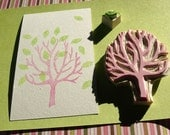 Tree with Leaf Rubber Stamp Set Hand Carved Scrapbooking Card Stationary Wedding Engagement Hang Tag Embellishment Supply