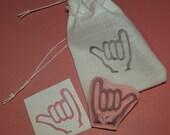 Hand Carved Stamp - Shaka, Hang Loose, Rock On Rubber Stamp