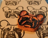 French Bulldog Rubber Stamp,  Frenchie Dog Rubber Stamp Letterboxing, Hand Carved Stamp