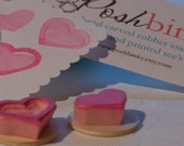 Valentine Mini Heart Stamp Set Solid Heart and Outlined Heart Rubber Stamps