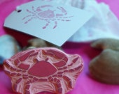Crab Red Dungeness Maine Alaskan Ocean Rubber Stamp Hand Carved