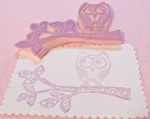 Owl Stamp and Branch with Leaves Stamp Duo