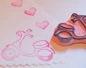 Scooter Rubber Stamp Hand Carved