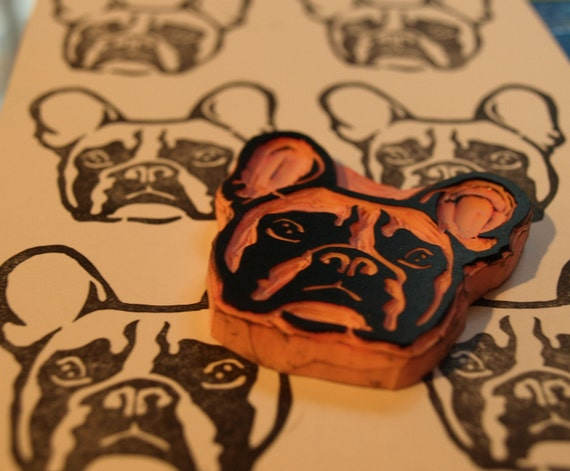 French Bulldog Rubber Stamp,  Frenchie Dog Hand Carved Stamp