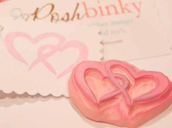 Double Heart Rubber Stamp, Hand Carved Heart Stamp, Wedding Stamp, Love Stamp, Wedding Embellishment, Cardmaking Stamp, Invitation Stamp