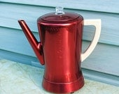 Red Retro Coffee Pot, West Bend Annodized Aluminum