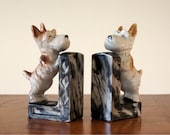 Bookends: Scotty Dog, Pair Vintage Ceramic Made in Japan