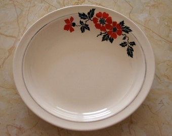 Red Poppy Hall China Soup Bowl, Hall Pottery Flat Soup, Farmhouse Kitchen, Vintage Dinnerware
