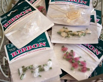 Vintage Offray Ribbon, NOS Ribbon Roses, Wedding Dress Trim, Pink Green Cream, Four Style Options