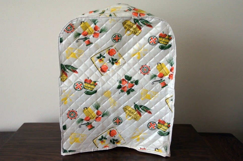 Retro Kitchen Appliance Cover: Quilted Vinyl with Fruits