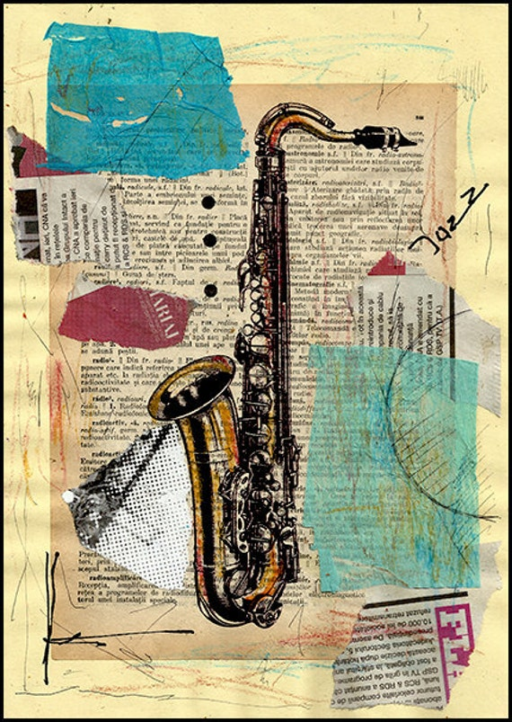 sale print art canvas christmas gift saxophone collage by